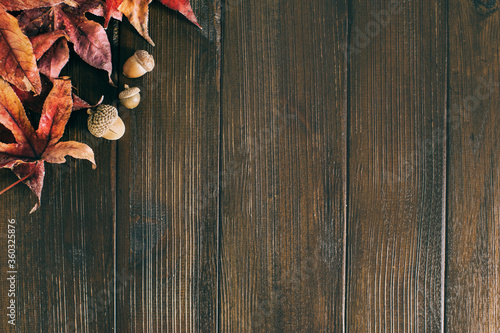 Autumn leaves and brown acorns with fall colors on a dark rustic barn wood surfa Fototapeta