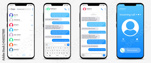 Leinwand Poster Realistic smartphone mockup app messenger display on screen