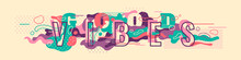 """Good Vibes"" Abstract Banner Design With Typography And Colorful Fluid Shapes. Vector Illustration."