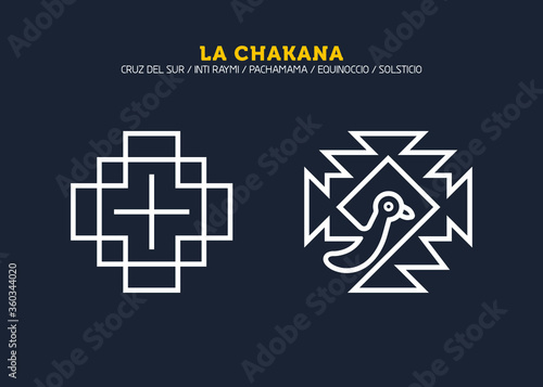 Photo Inca Cross Chakana, Inti Raymi Ecuador, Peru emblematic symbol of an ancestral and cultural celebration of the Andean peoples for the winter solstice
