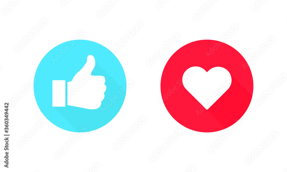Fototapeta Thumbs up and heart, social media icon, empathetic emoji reactions. Vector Illustration. EPS 10