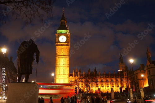 Winston Churchill Big Ben and Palace of Westminster statue