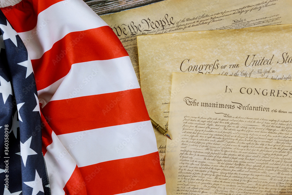 Fototapeta American Flag We the people and Preamble to the Constitution of the United States Declaration of Independence