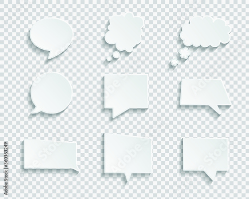 Tablou Canvas White blank speech bubbles isolated vector set