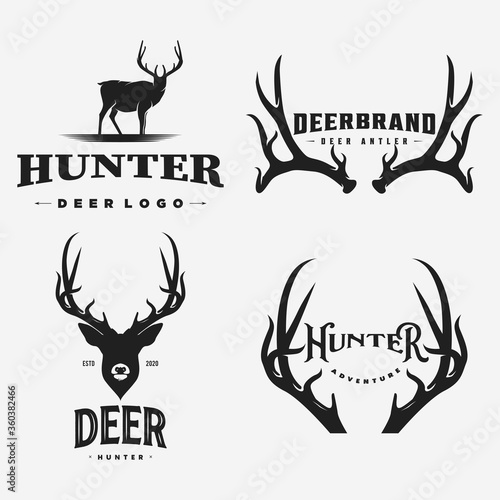 Fotomural vintage deer brand logo  icon and template