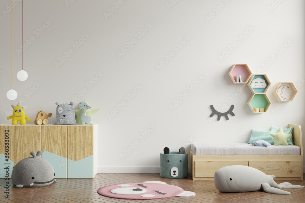 Mock up wall in the children's room in white wall background.