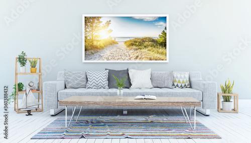 Fotografiet 3d Illustation - Skandinavisches, nordisches Wohnzimmer mit einem Sofa, Tisch un
