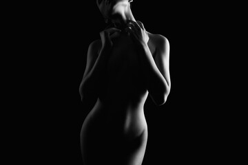 Nude Woman silhouette in the dark. Beautiful Naked Body