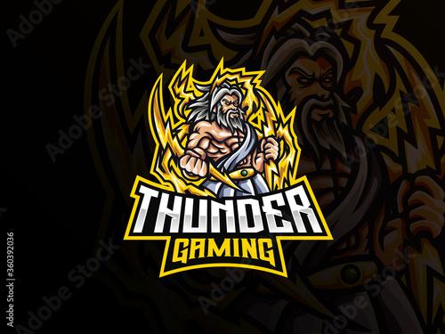 Платно Zeus mascot sport logo design