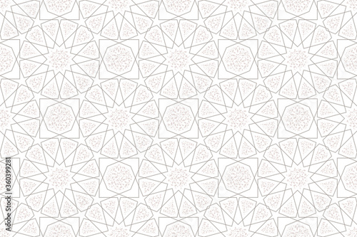 Classic Islamic seamless beige pattern vector traditional line texture with flower and leaf Canvas Print