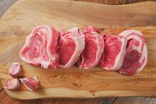 Five Fresh Raw Lamb Cutlet On ...