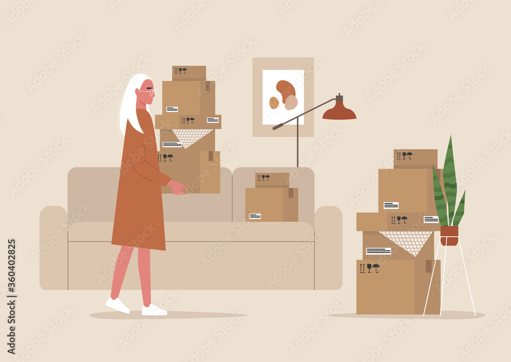 Fototapeta Young female character holding cardboard boxes, moving to a new apartment, relocation, home interior