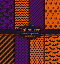 Set Of Halloween Backgrounds. Collection Of Seamless Patterns In The Traditional Holiday Colors. Vector Illustration.