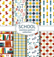 Back To School. Set Of Colorful Education And Science Seamless Patterns. Vector Collection.