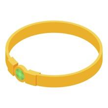 Gold Bracelet Icon. Isometric Of Gold Bracelet Vector Icon For Web Design Isolated On White Background