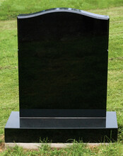 Tombstone In Polished Black Granite With Blank Inscription Area For Copy Space
