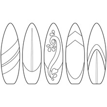 Surfboards Collection. Vector ...