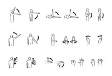 Human Range Of Motion, Human Hand And Arm Movement Icon Set