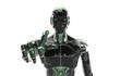Leinwandbild Motiv Black and green intelligent robot cyborg pointing finger on white 3D rendering