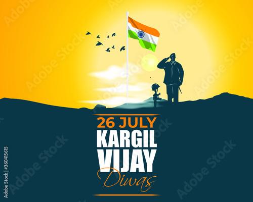 Fotografia VECTOR ILLUSTRATION FOR 26 JULY VIJAY KARGIL DIWAS MEANS 26 JULY KARGIL (INDIAN