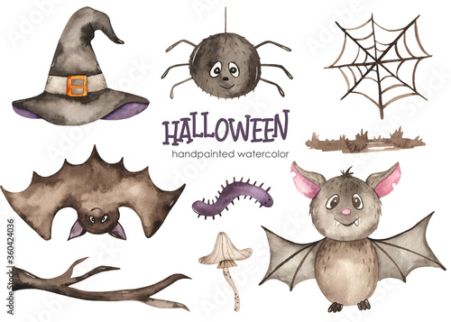 Fotografie, Obraz Halloween watercolor set with bat, spider, cobweb, witch hat