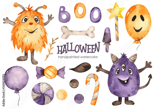 Obraz na plátně Halloween watercolor set with cranks, sweets, balloons, flags, magic wand