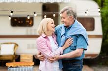 Beautiful Elderly Couple Huggi...