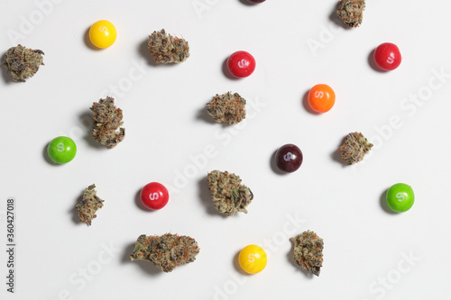 Cannabis and Candy Skittles Fototapeta
