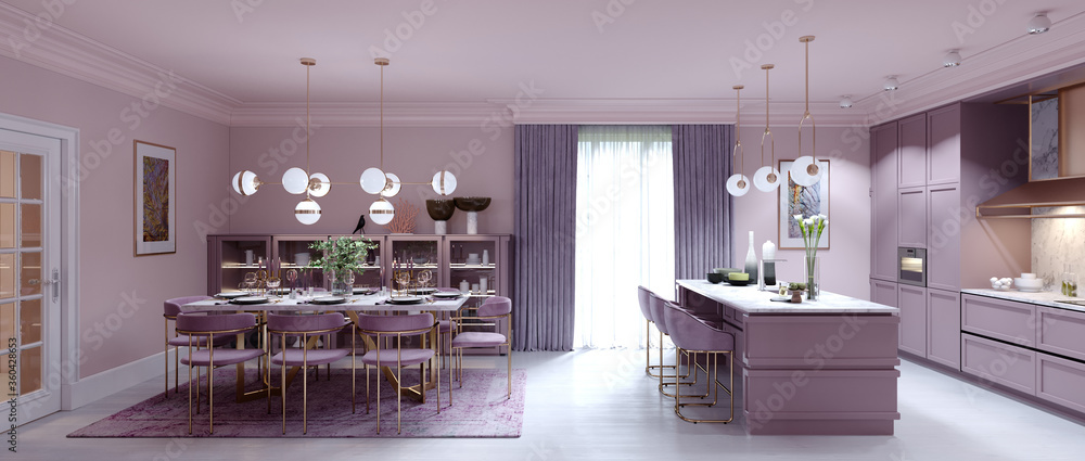 Fashionable kitchen interior with dining room in lilac color.