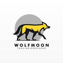Vector Logo Illustration Wolf Moon Simple Mascot Style.