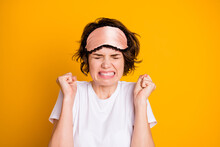 Close Up Photo Of Frustrated Irritated Mad Girl Cant Sleep Want Her Roommate Stop Noise Party Raise Fists Show Teeth Wear Eye Mask T-shirt Isolated Over Bright Shine Color Background