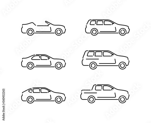 Fototapeta Outline vector cars set - monochrome automobiles with different car body - sedan, offroad, roadster, pickup, universal, hatchback - icons collection obraz na płótnie