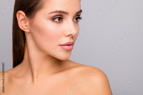 Closeup profile photo of attractive beautiful lady nude shoulders plump perfect shape lips tempting appearance look empty space clean cheek line isolated grey color background