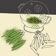 Pea Pods And Shelled Peas In Colander