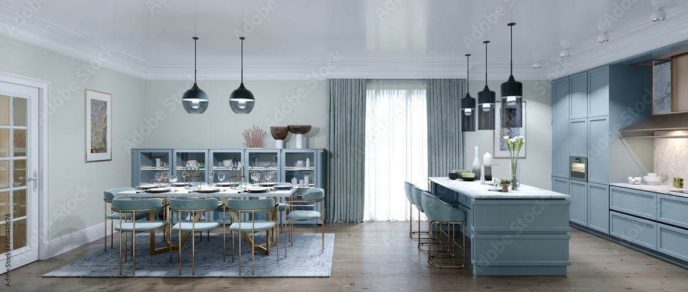 Fototapeta Designer large kitchen with dining area in a trendy style, interior color faded coral.