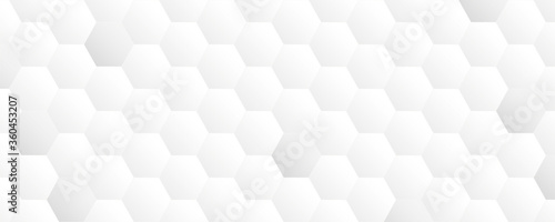 bright white abstract honeycomb banner background vector illustration EPS10 Canvas