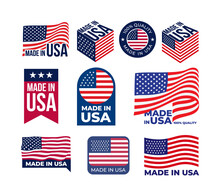 Set Of Made In USA Logo And La...