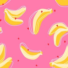 Colorful Sunny Yellow And Baby Pink Banana Vector Seamless Pattern With Red Heart And Linear Exotic Fruit Silhouette For Girl Clothing Textile Print.