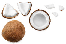 Coconut With Slices Isolated On White Background. Top View