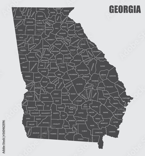 Obraz na plátně Georgia County Map