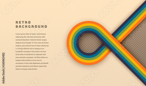 Simple style retro background design with rounded striped element in color Wallpaper Mural