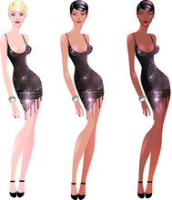 Clipart Glamorous Lady In Black Dresses, Full Length, With Different Skin Colors, Different Hair Colors, Blonde And Brunette, Short White Dress