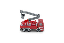 Children's Toy Red Fire Truck With A Retractable Tower On A White Background