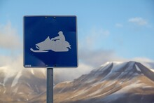 Snowmobile Blue Road Sign In T...