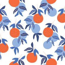 Seamless Vector Pattern With Decorative Image Of Orange Fruit For Your Projects