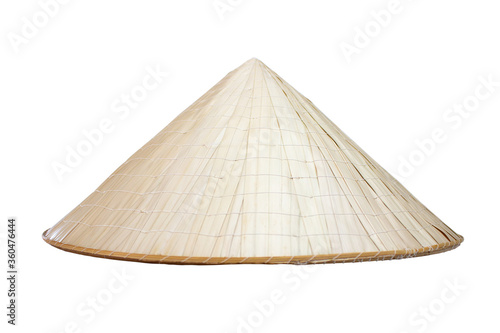 Leinwand Poster Vietnamese conical hat of tropical plants and bamboo twigs isolated on a white background