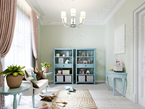 Photo Play area in a childrens room with a sofa, side tables with flowerpots and racks with toys and books