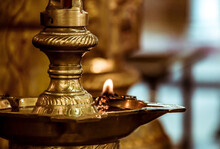 Burning Candle In Indian Temple