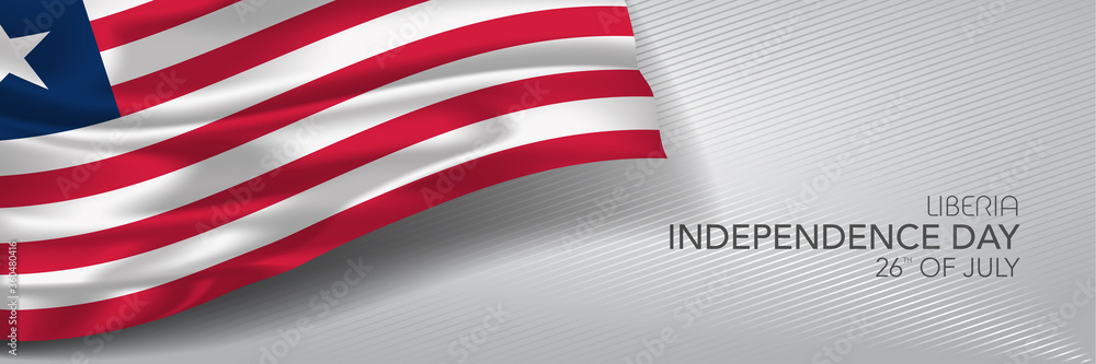 Fototapeta Liberia independence day vector banner, greeting card.