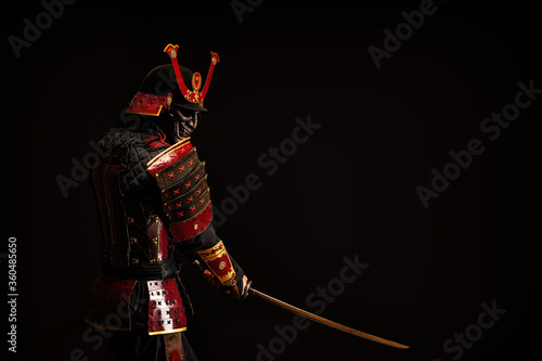 Portrait of a samurai in armor in attack position Wallpaper Mural